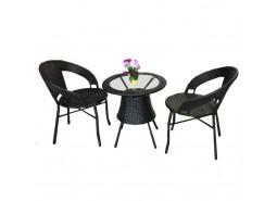 Stol FI60 + 2 stolice (CRNI) A596